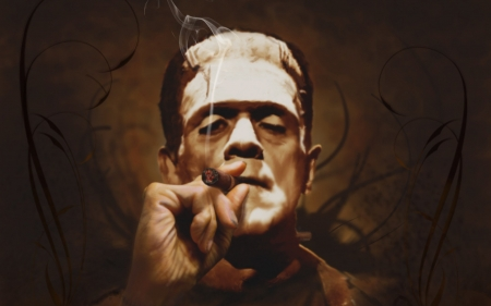 frankenstein - man, monster, cigar, frankenstein