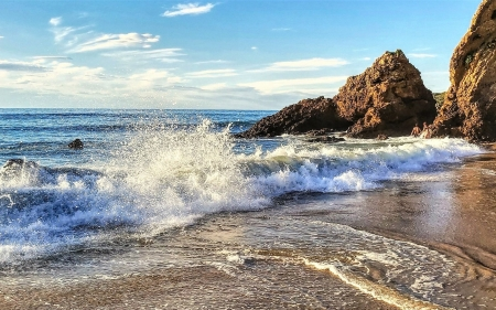 Beach in Spain - rocks, beach, Spain, wave, splash