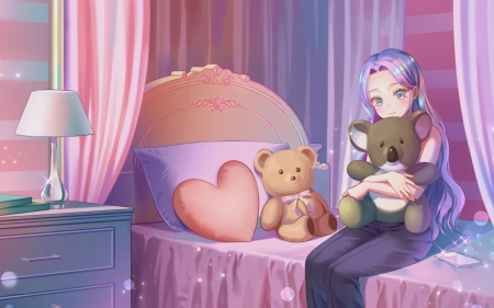 Girl with Teddy Bear - girl, bed, anime, bear, interior, pink
