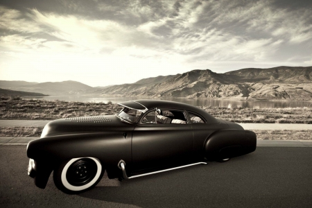 Black Hot Rod - cars, hot rod, mountains, b and w