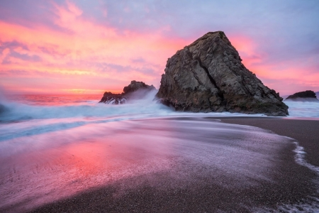 Winter sunsets at Bodega Bay, California - rocks, sky, usa, coast, colors