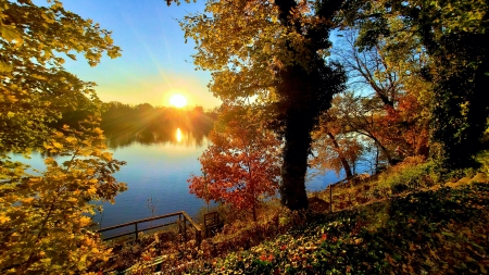 Autumn near Titusville, New Jersey - sun, leaves, usa, colors, river, sunset, trees, sky
