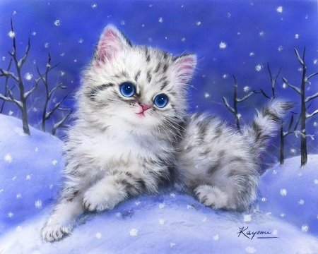 Snow Kitty - cute, painting, cat, winter