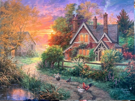 Warmth of Home - autumn, cottage, hens, sunset, shed, trees, rooster, artwork, pond, painting