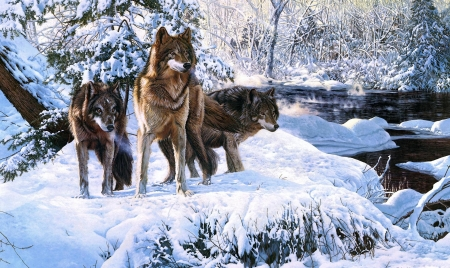 Forest Warriors - snow, wolves, animals, winter, paint
