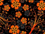 Orange on Black Floral