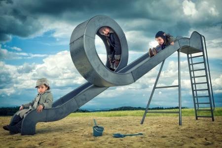 Now...that's a neat slide - children, girls, illusion, slide