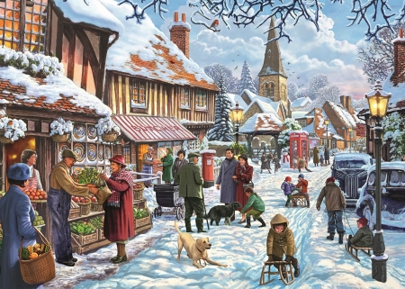 Village Life On A Winters Day - snow, Winter, village, shops, church, vintage