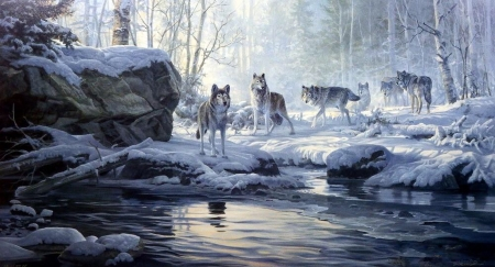 Wolves Near The Snowy River - art, snow, digital, river, Wolves, animals, winter