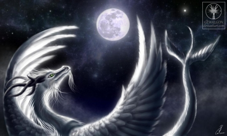Embracing the moon - fantasy, digital art, abstract, art, wallpaper, dragon