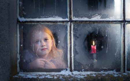 First Advent Candle - child, little, girl, candle, Advent, window