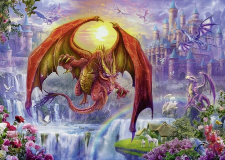 Dragon Palace - purple, flying, large, pinks, castle, small, dragons, wings, puzzle, jigsaw