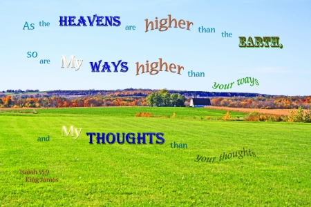 God's Ways-Thoughts Higher - hills, farm, autumn, Bible, pasture, trees, field, lake