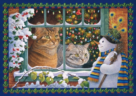 :) - feather, peacock, pisici, snowman, cat, winter, iarna, christmas, window, craciun