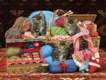 Kittens in the sewing basket