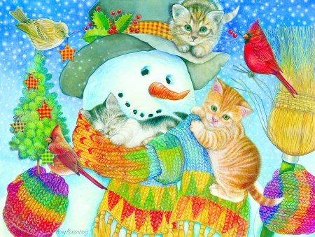 Snowman and kittens - snowman, pictura, cat, pisici, kitten, winter, art, christmas, craciun, iarna, cute