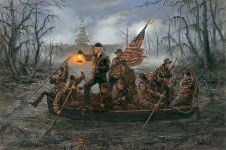 Crossing the swamp - donald trump, people, painting, president, man, swamp, pictura, art, lantern, boat