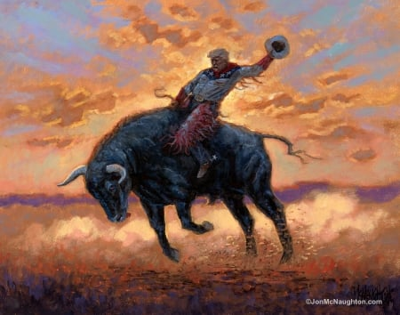 At sunset - cow, donald trump, painting, man, bull, pictura, jon mcnaughton, art, sunset, hat
