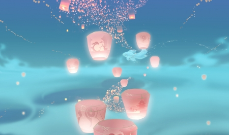 Lanterns and fish - qian wei, pink, sky, blue, art, fish, lantern, vara, fantasy, pesti, summer