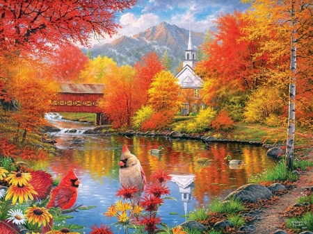Autumn - lake, art, red, autumn, orange, toamna, church, cardinals, water, bird, painting, pasari, pictura