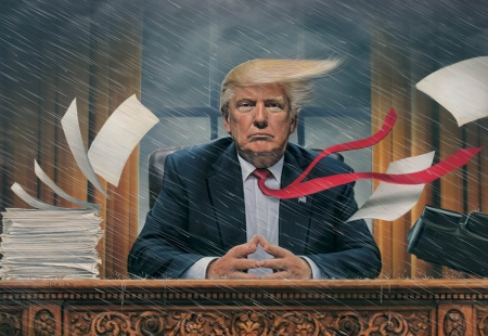 Chaos - art, donald trump, wind, president, painting, man, portrait, pictura