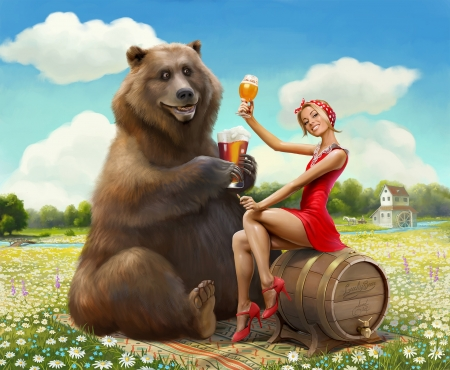 Lucky bear - edeard halmurzaev, fantasy, brown, girl, luminos, urs, bear, art, red, dress