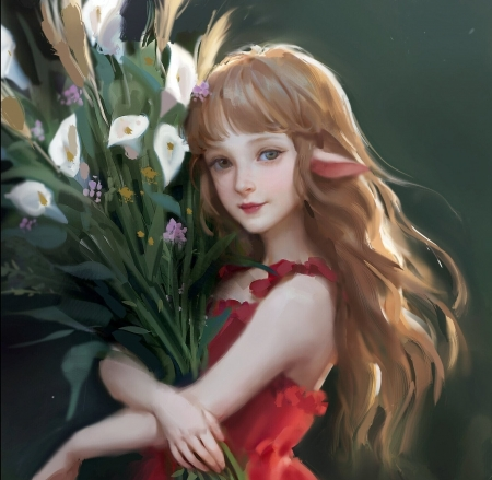 Elf girl with a bouquet of flowers - frumusete, girl, luminos, elf, flower, gorgeous, chang sally, art, superb, fantasy