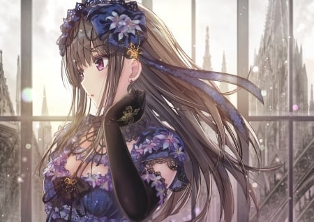 Young Maiden - Pink Eyes, Lolita Fashion, Anime, Lovely, Beautiful, Black Gloves, Purple Dress, Sweet, Brown Hair, Missile228, Maiden, Ribbon, Girl, Long Hair, Woman, Young