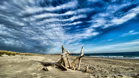 Watch Hill Beach, Rhode Island - sand, clouds, sky, sea, wood