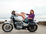Cowgirl on her Honda Motorcycle