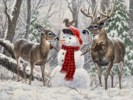 Winter Friends - squirrel, snow, painting, snowman, trees, deer, artwork
