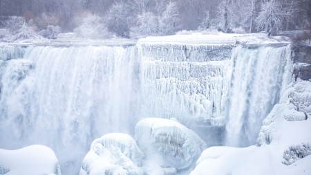 Ice Snow Waterfall - ice, nature, snow, landscape, waterfall