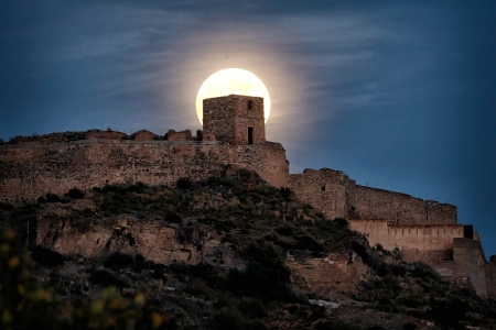 Castillo de Sagunto, Valencia, Spain - moon, medieval, castle, spain