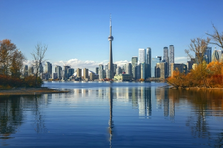 Toronto's Reflection - toronto, reflection, skyscrapers, lake, canada