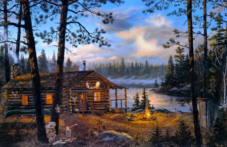 Wilderness Echoes - fall, art, hut, autumn, camp, cottage, sunset, paintning, beautiful, lake, picture, fire, wilderness, countryside, echo