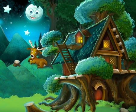 Night - night, moon, fantasy, luna, green, cottage, deer