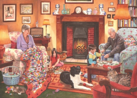 :) - red, art, caine, children, cat, fire, border collie, grandma, copil, evening, room, pisici, pictura, grandpa, dog