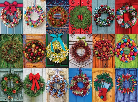 Christmas wreaths - collage, christmas, wreath, colorful, craciun, texture