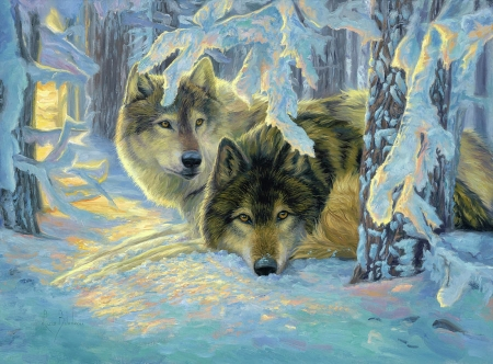 Deep Woods - forest, sunrays, snow, painting, wolves, trees, winter, artwork