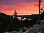 A chilly winter sunrise in Lake Tahoe