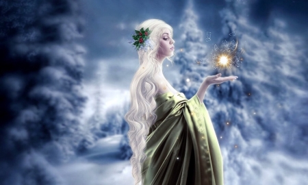 Fantasy Winter Lady - lady, Fantasy, winter, lovely, festive, Ethereal