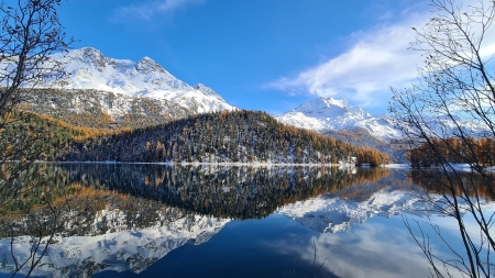Reflective mountain lake between St.Moritz and Silvanaplan, Switzerland - sky, snow, lake, ice, alps, clouds