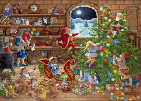 Santa's helpers - elf, gnome, interior, painting, pictura, dwarf, gifts, art, christmas, craciun