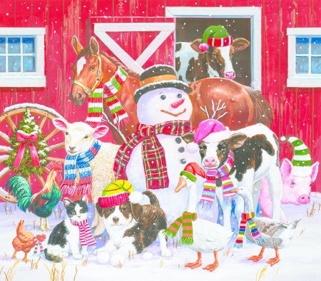 Ready for winter - pink, pictura, dog, iarna, animal, farm, caciun, duck, painting, rooster, art, cow, pig, christmas, caine, goose, snowman, horse, cat, winter, hat, cal, santa, bird, pisici