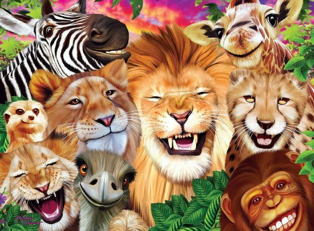Selfie - selfie, funny, smile, zebra, animal, lion, cheetah, leu, monkey, jungle, giraffe