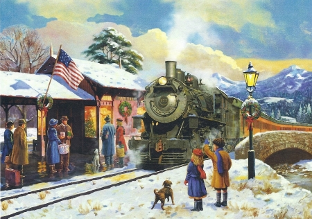 Old Memories - railroad, train, snow, people, painting, station, winter, dog