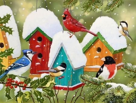 Winter village - art, cardinals, snow, houses, painting, village, birds, winter