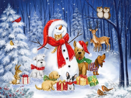Snowman With Dogs In The Woods - art, forest, christmas, woods, snowman, winter, cute, puppies, tree, snow, presents, animals, friends, dogs