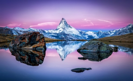 Stellisee and Matterhorn - mountain, Matterhorn, beautiful, sunset, Switzerland, reflection, sky, lake, peak