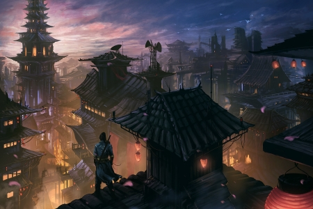 On the roof - fantasy, roof, night, bruce liu, man, silhouette